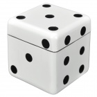 Dice Shaped Double Layers Herb Tobacco Cigarette Grinder - White + Black