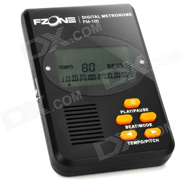 FM-100 1.6 LCD Digital Metronome w/ Earphone - Black (2 x AAA) 1 8 lcd portable jewelry digital pocket scale 500g 0 1g 2 x aaa