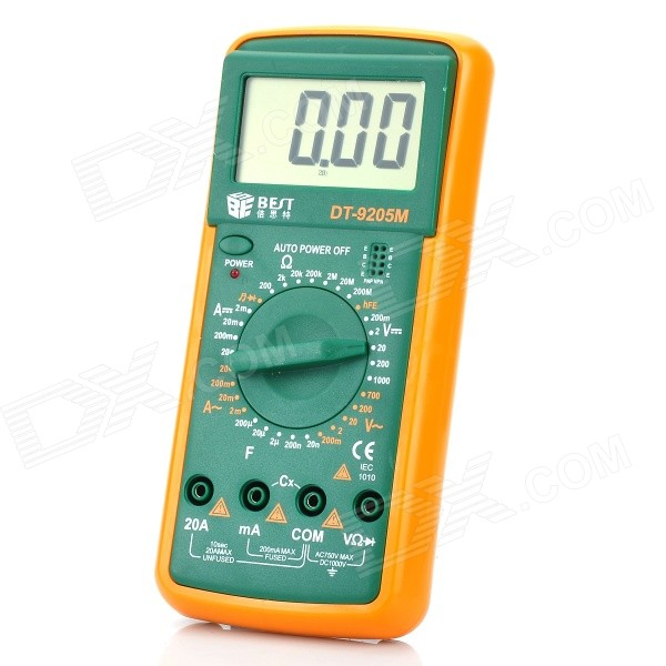 BEST DT-9205M 2.8 LCD Handheld Digital Multimeter (1*9V/6F22)Multimeters<br>ModelDTQuantity1ColorGreenForm  ColorOrangeMaterialABSLCDMax. Display1999DCDC Voltage200mV~1000VAC Voltage200mV~700VDC Current2mA~20AAC Current2mA~20AResistance200Packing List<br>