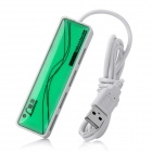 Mini USB 2.0 High Speed 4-Port Hub - White + Green