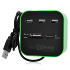 2-in-1 3-Port USB 2.0 Hub + SD / MMC / MicroSD / TF / MS / MSPD / M2 Card Reader