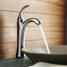Fashion Single-Hole Chrome Finish Brass Kitchen Sink Faucet Water Tap - Silver