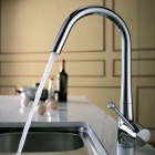 Stylish Rotatable Chrome Finish Brass Kitchen Sink Faucet Water Tap - Silver