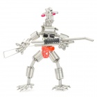 Creative Handcraft Iron Wire Robot Display Model Toy - Silver + Black + Red