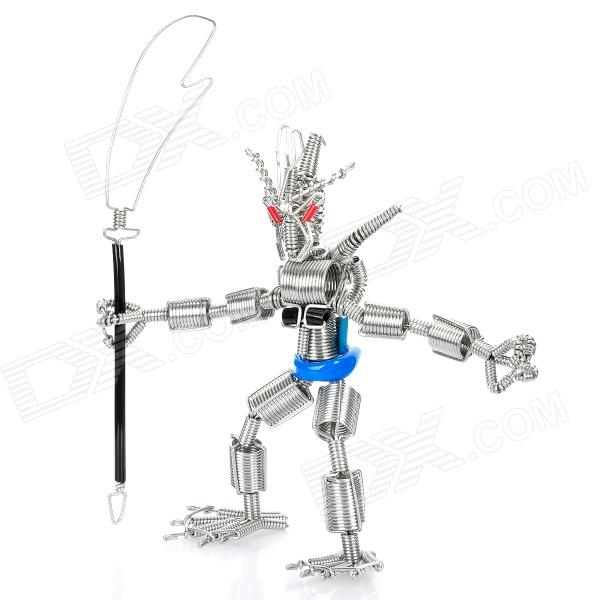Creative Handcraft Iron Wire Robot Display Model Toy - Silver + Blue