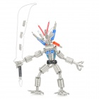 Creative Handcraft Iron Wire Robot Display Model Toy - Silver + Black + Red + Blue