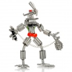 Creative Handcraft Iron Wire Robot Display Model Toy - Silver + Red + Blue