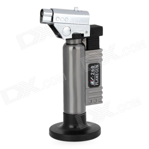 BS-260 1300'C Adjustable Butane Jet Torch Lighter w/ Stand - Silver + Grey dual flame wind proof butane gas lighter silver black