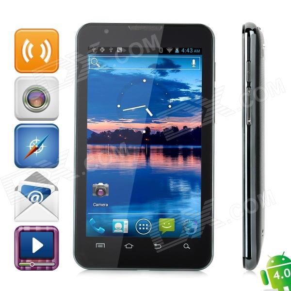 "S5 Android 4.0 WCDMA Barphone w/ 5.0"" Capacitive Screen, GPS, Wi-Fi and Dual-SIM - Black"