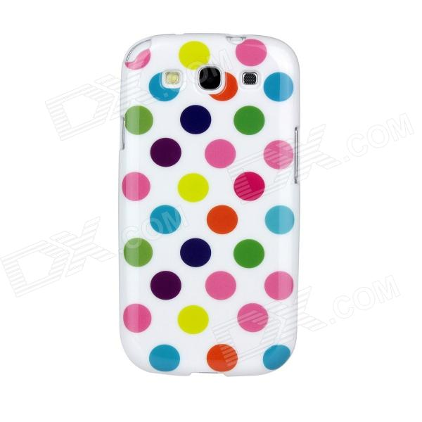 Colorful Dots Pattern Protective Soft Plastic Case for Samsung i9300 Galaxy S3 - White kinston colorful flowers and butterflies pattern plastic protective case for samsung galaxy s3 i9300