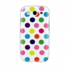 Colorful Dots Pattern Protective Soft Plastic Case for Samsung i9300 Galaxy S3 - White