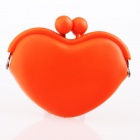 P003 Cute KISS Heart Shape Silicon Purse Wallet - Orange (S-Size)