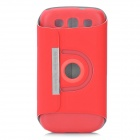 Smart 360 Degree Rotating Protective PU Leather Cover Hard Case for Samsung Galaxy S III i9300 - Red