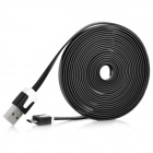 USB 2.0 Male to Micro USB Male Flat Charging / Data Cable for HTC One X + More - Black (300cm)