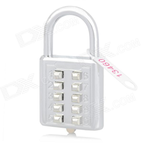 10-Digit Luggage Case Bag Security Resettable Combination Padlock - Silver