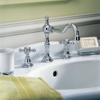 Fashion Three-Hole Dual-Handle Chrome Finish Brass Kitchen Sink Faucet Water Tap - Silver