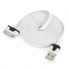 Flat Cable USB Data / Charging Cable for iPhone 3G / 3GS / 4 / 4S - White + Black (300cm