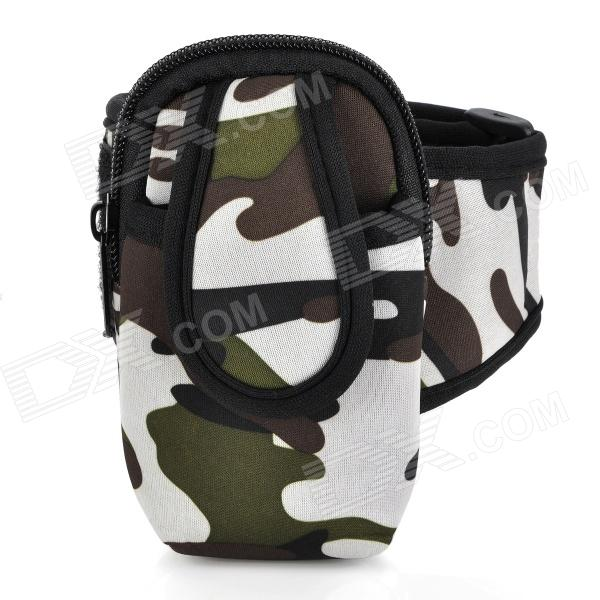 Sports Armband Bag for Iphone 3g / 3GS / 4 / 4S / Cell Phone / MP3 / MP4 - Camouflage zippered sports armband bag pouch for iphone 4 dark blue