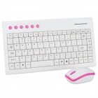 X110 Wireless 94-Key Keyboard w/ 1000dpi Mouse / Receiver - White + Pink (2 x AAA / 2 x AAA)