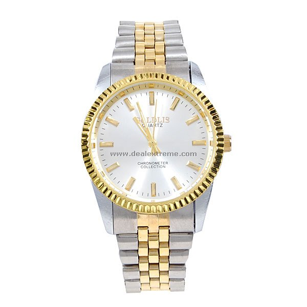 Stylish Men's Quartz Watch Silver (Gold and Silver Strap)