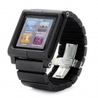 Designer's Aluminum Alloy Case w/ Watch Band for iPod Nano 6 - Black