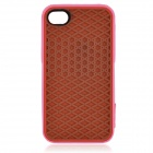 Creative Sole Style Protective Silicone Back Case for iPhone 4 / 4S - Brown + Deep Pink