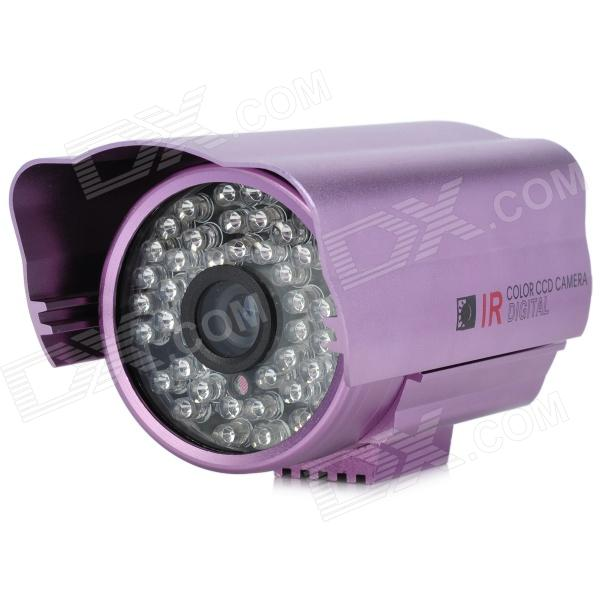 Water Resistant Surveillance Security Camera w/ 48-LED IR Night Vision - Purple (PAL) zhueran zea afs004 water resistant 1 3 cmos 600tvl surveillance camera w 20 ir led white pal