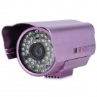 Water Resistant Surveillance Security Camera w/ 48-LED IR Night Vision - Purple (PAL)