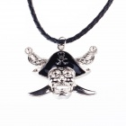 Vintage Gothic Pirate Skull Style Necklace w/ Artificial Leather Rope - Silver + Black