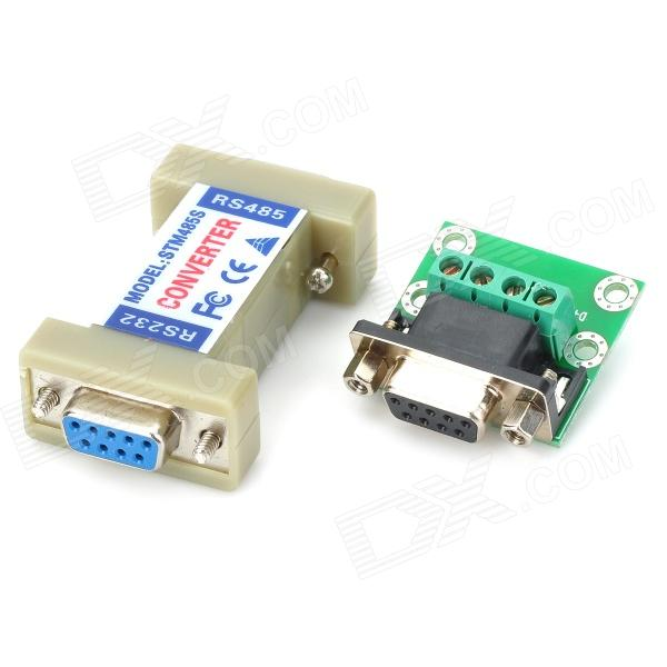 RS232 to RS485 Interface Communication Connector Serial Port Converter Driver - Grey + Green rs232 to rs485 passive interface converter adapter data communication serial 61516