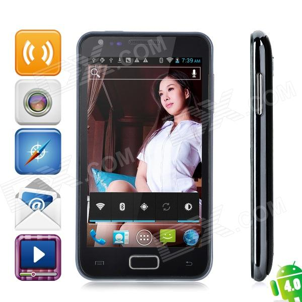 "N800 Android 4.0 WCDMA Bar Phone w/ 4.3"" Capacitive Screen, GPS, Wi-Fi and Dual-SIM - Black"