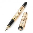 5000-J Hollow-Out Golden Dragon Pattern Fountain Pen - Golden + White + Black