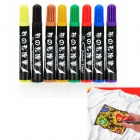XS-02 8 Colors Smart Water Resistant Paint Pens for Fabric / Silk Liner (8 PCS)