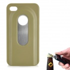 Fashion Protective Plastic + Stainless Steel Bottle Opener Back Case for iPhone 4 / 4S - Green
