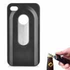 Fashion Protective Plastic + Stainless Steel Bottle Opener Back Case for iPhone 4 / 4S - Black