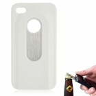 Fashion Protective Plastic + Stainless Steel Bottle Opener Back Case for iPhone 4 / 4S - White