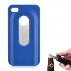 Fashion Protective Plastic + Stainless Steel Bottle Opener Back Case for iPhone 4 / 4S - Blue