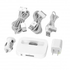 6-in-1 US Plug Power Adapter / Car Charger and USB Cables Set for iPhone 4S / iPod - White