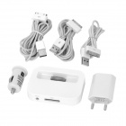 6-in-1 EU Plug Power Adapter / Car Charger and USB Cables Set for iPhone 4S / iPod - White