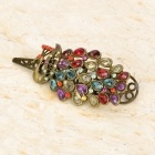 Peacock Style Alloy Hairpin w/ Artificial Diamond - Multicolored + Copper