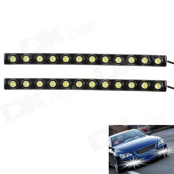 6W 6000K 340LM 12-LED White Light Car Daytime Running Lights - Black (DC 12V / 2 PCS) 3w 800ml 6000k white cob led car fog light daytime running lamp black transparent 2 pcs