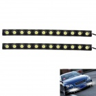 6W 6000K 340LM 12-LED White Light Car Daytime Running Lights - Black (DC 12V / 2 PCS)
