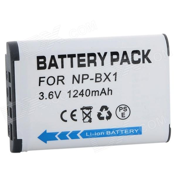 Replacement 1240mAh 3.6V Li-ion Battery for Sony NP-BX1 - White replacement compatible 7 2v 3700mah battery pack for sony np fv100