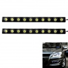 5W 6000K 300LM 10-LED White Light Car Daytime Running Lights - Black (DC 12V / 2 PCS)