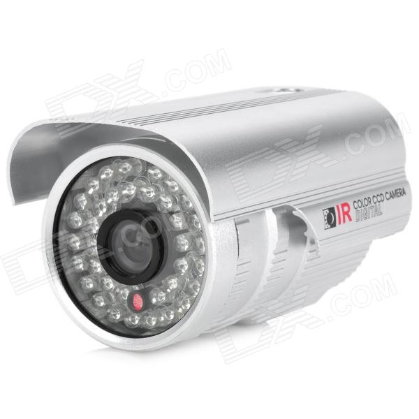 Water Resistant Surveillance Security Camera w/ 36-LED IR Night Vision - Silver (PAL) zhueran zea afs004 water resistant 1 3 cmos 600tvl surveillance camera w 20 ir led white pal