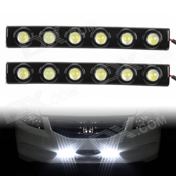 5W 6000K 240LM 6-LED White Light Car Daytime Running Lights - Black (DC 12V / 2 PCS) 3w 800ml 6000k white cob led car fog light daytime running lamp black transparent 2 pcs