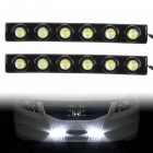 5W 6000K 240LM 6-LED White Light Car Daytime Running Lights - Schwarz (DC 12V / 2 PCS)