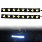 4W 6000K 300LM 8-LED White Light Car Daytime Running Lights - Black (DC 12V / 2 PCS)