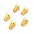 Gold Plating SMA Female PCB Vertical Mount Connectors - Golden (5 PCS)
