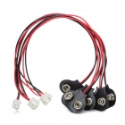 Safety 9V Battery Buckle - Black + Red (5 PCS)